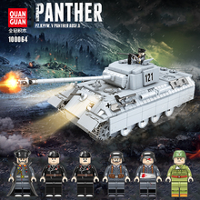 990PCS WW2 Military Panther Tank 121 Building Blocks Legoing Military WW2 Tank Soldier Weapon Army Bricks Kids Toys For children