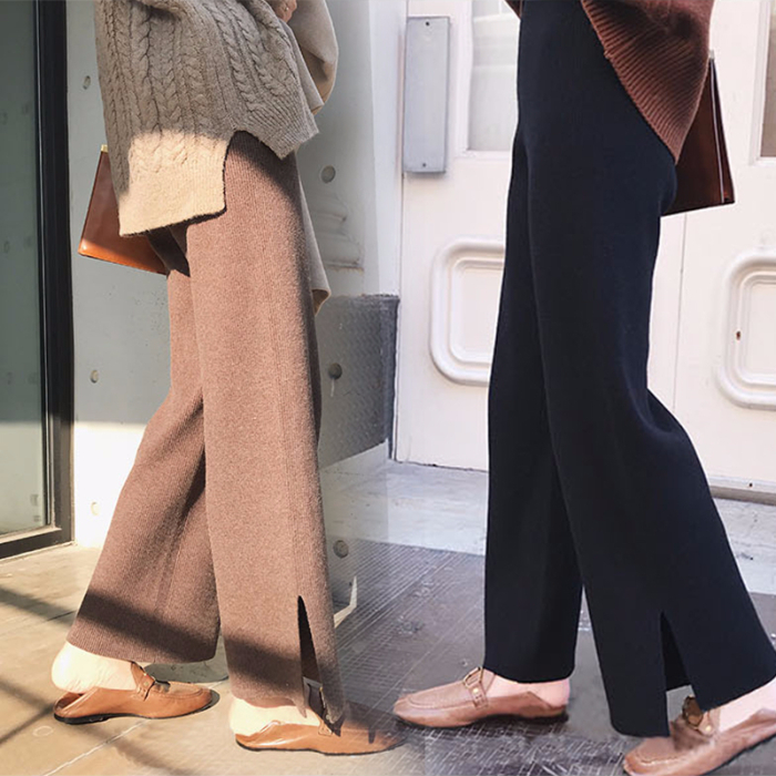 Women Knitting   Wide     Leg     Pant   2019 Autumn Winter New Fashion Casual Trousers Loose High Waist Elastic Knitted   Pant   Women