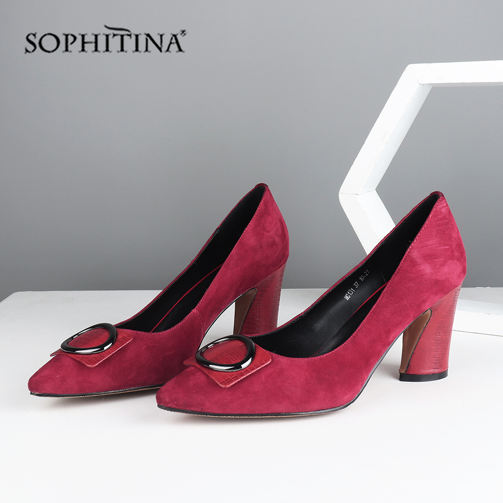 SOPHITINA High-quality Wearable Kid Suede Solid Concise Pumps For Lady Square Heel Elegant Metal Decoration Mature Shoes MC131