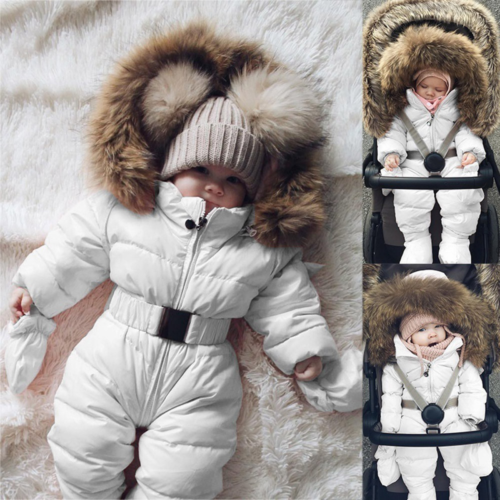 Baby Down Jas Jumpsuit Winter Pasgeboren Baby Jas Winter Fashion Solid Dikke Hooded Warme Romper Winter Warm Bodysuit