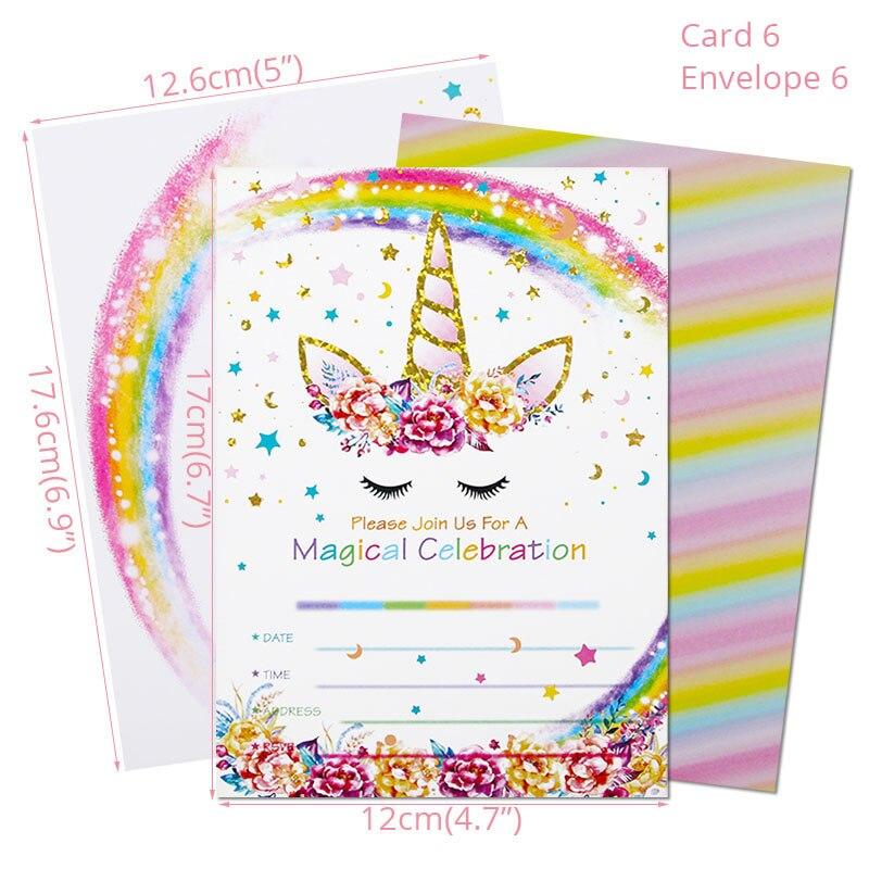 carte d invitation licorne pour fete d anniversaire decorations de fete pour enfants