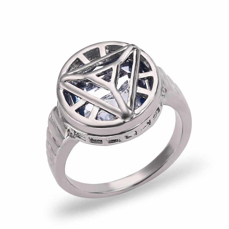 Marvel Avengers Iron Man arco Reactor anillo Vintage gótico anillos para hombres Pantera Negra aquamán anillo negro hombres bagues para mujer