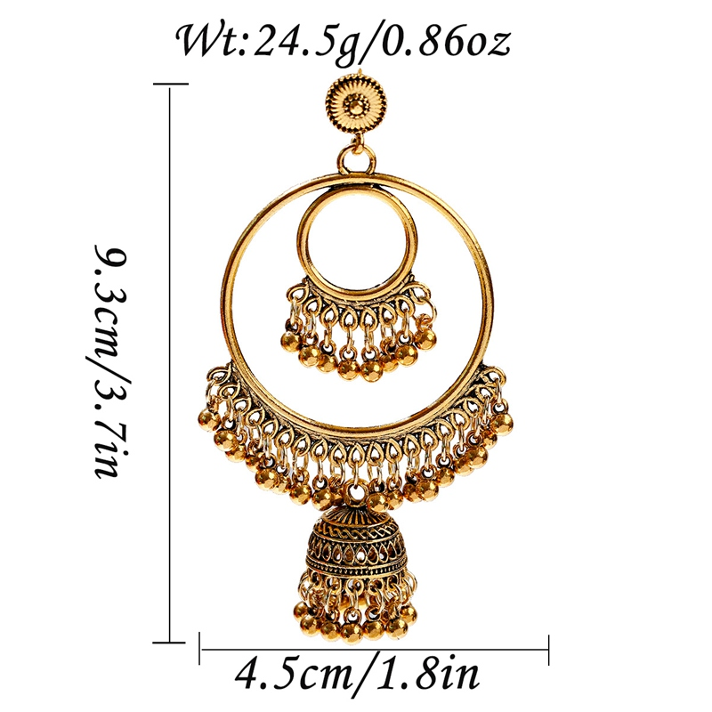 Hda207886bf10434fa0ab31b2aaf007efH - Antique Gold Boho Big Round Circle Gypsy Tribal Indian Drop Earrings For Women Vintage Bell Tassel Earring Womens Jewellery