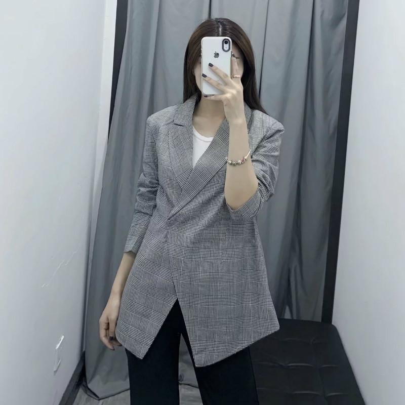 Casual jacket feminine 2020 Korean version of the new slim-fit mid-length personality women's blazer Female Small suit Coat