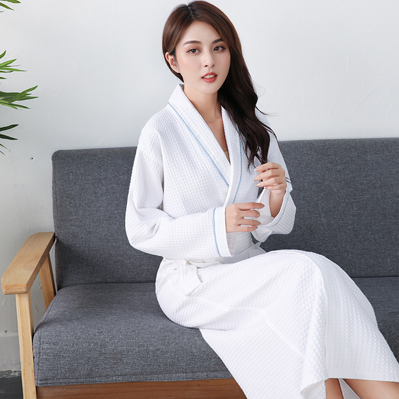 White Waffle Robe Women100% Cotton Bath Robe Ladies Water Sucking Sleepwear Robe Feminino Casual Home Bathrobe Hotel Robe