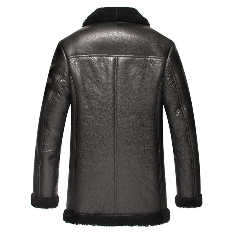 Arrival New Men Leather Jacket Black Winter Minus 40.Full Warm Fur Men Coat Sheepskin Genuine Leather Slim For Men YYJ0060