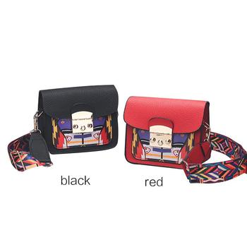 Tote Bag Handbag Female Women Bohemia Leather Crossbody Snap Button Boho Strip Multicolor Elegant  Shoulder Messenger