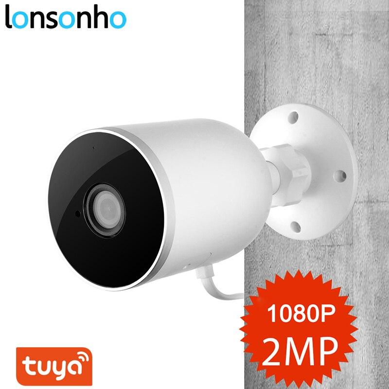 Lonsonho câmera ip wi fi inteligente ao ar livre ip66 à prova dwireless água sem fio 1080 p áudio em dois sentidos tuya vida inteligente visão noturna sensor de movimento
