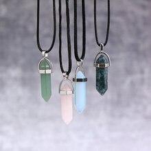 Шестиугольная колонна Кварцевые ожерелья Подвески Мода натуральный