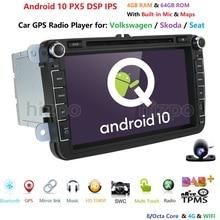 HIZPO Android10.0 옥타 코어 자동차 DVD 플레이어 라디오 V W passat b6 b5 cc skoda octavia 2 폴로 골프 5 최고 J etta T5 OBD 카메라