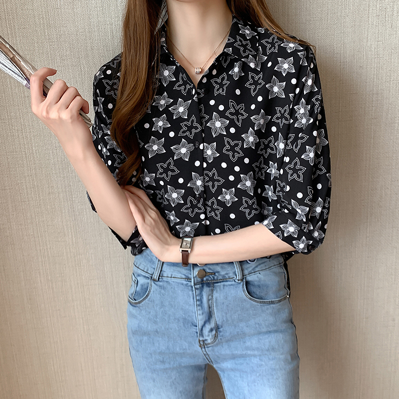 Hot Sale Women Floral Print Casual Blouse Shirts Women Singer Breasted Oversized White Blusas Summer 2020 Femininas Chemise Tops
