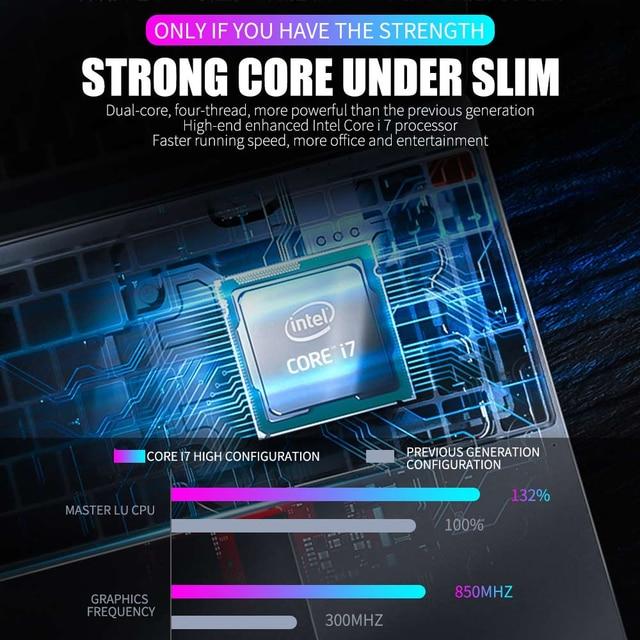 15.6 pouces intel Core i7-4550U ordinateur portable RAM 8GB 512GB SSD ordinateur portable 2.4G/5G WiFi bureau IPS 1080P HDMI type-c TF USB3.0 métal ordinateur portable