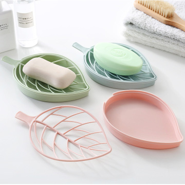 New Creative Drain Soap Box Leaf Modeling Soap Holde Bathroom Accessories Soap Dish Storage Basket Box Stand
