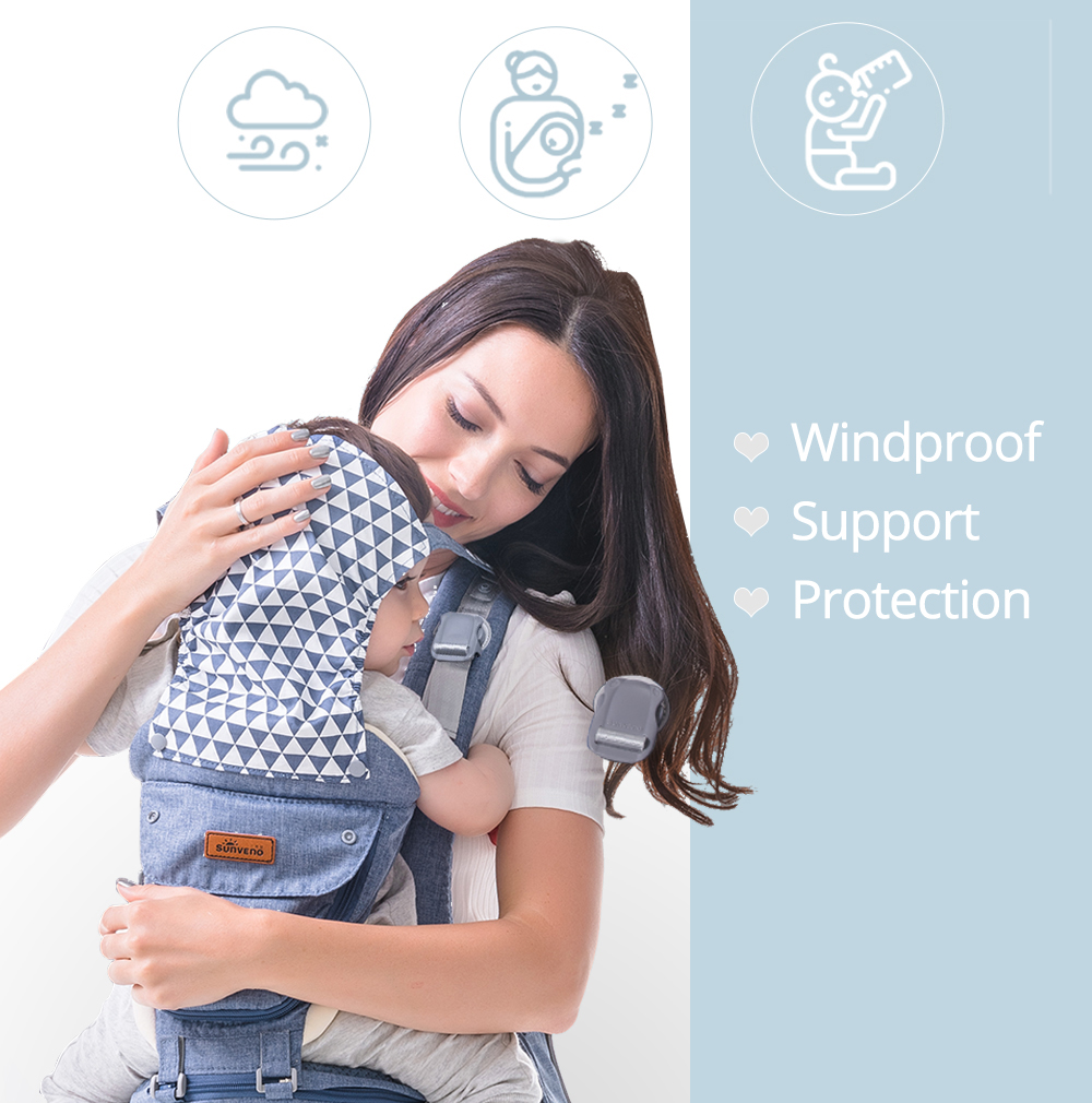 SUNVENO Ergonomic Baby Carrier Infant Baby Hipseat for Baby Travel 0-36M
