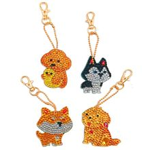 4pcs Christmas Key Chains 5D DIY Diamond Painting Keychains Special Dog Shape Full Drill Embroidery Puppy Keyring Gift