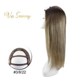 Парик VeSunny из 100% натуральных волос, с клипсами на балаяже, с эффектом омбре, коричневый и блонд, #3/8/22
