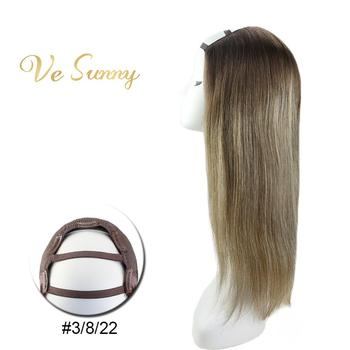 VeSunny One Piece U Part Half Wig 100% Real Human Hair with Clips on Balayage Ombre Brown to Blonde Color #3/8/22