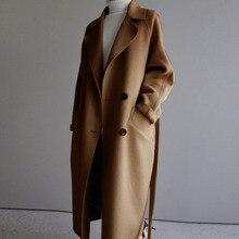 LANMREM новое осенне-зимнее шерстяное пальто с отложным воротником и длинными рукавами двубортная куртка в Корейском стиле WK12301L