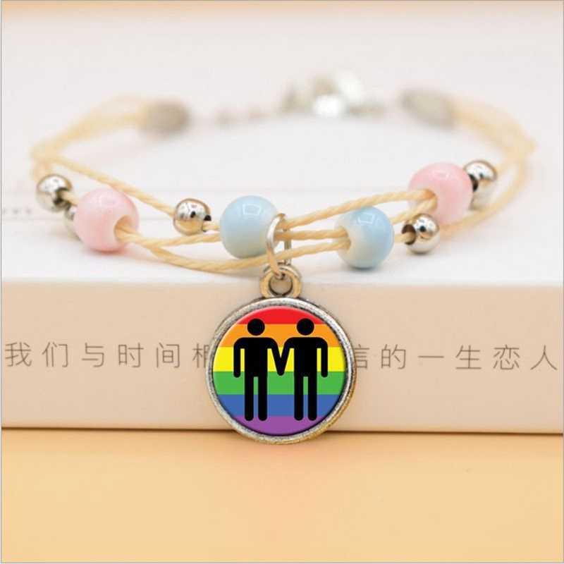 32 colores lindo colorido cerámica cuentas pulsera Arco Iris cristal Domo cabujón colgante pulseras para niñas joyería de moda
