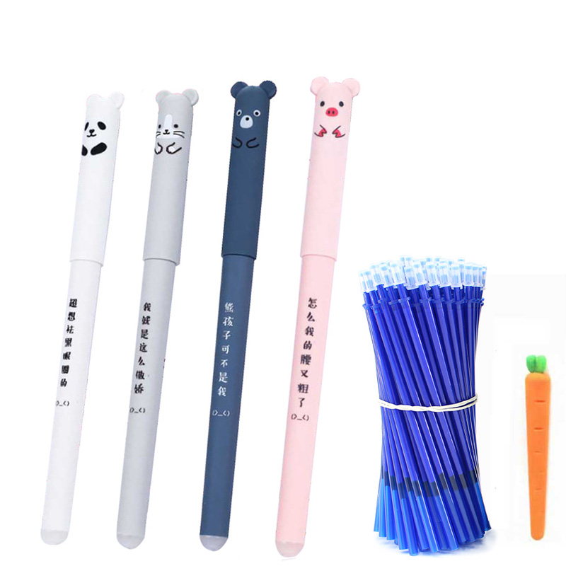 26Pcs/Lot Animals Erasable Pen 0.35mm Cute Panda Cat Pens Washable Handle Gel Pen 0.35 Mm Refill Rods School Kawaii Stationery