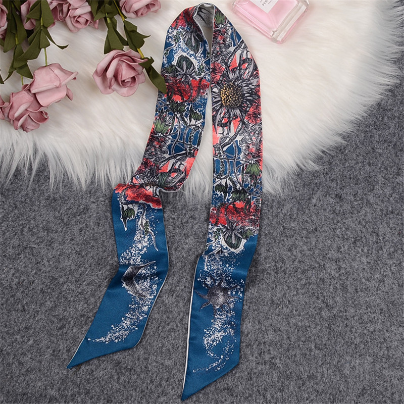Tree Of Life Scarf Women Skinny Bag Scarves 2020 New Design Luxury Brand Silk Scarf For Ladies Foulard Wrist Towel Neckerchief