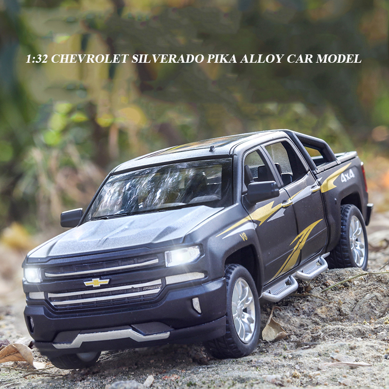 <font><b>1:32</b></font> Chevrolet Silverado Pika Alloy <font><b>Car</b></font> <font><b>Model</b></font> Diecast Toy Vehicle 6 Open Doors With Sound/Light/Pull-back Toys For Children image