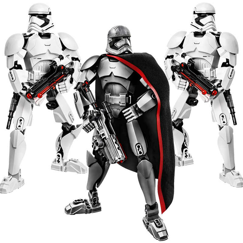 Star Wars figura edificabile Stormtrooper Darth Vader Kylo Ren Chewbacca Boba Jango Fett generale Grievou Action Figure Toy For Kid