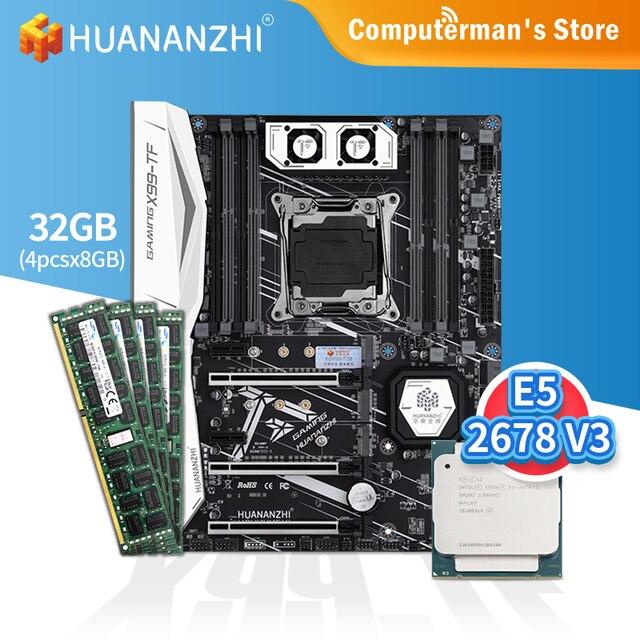HUANANZHI X99 TF Motherboard combo kit set CPU Intel XEON E5 2678 V3 Memory 4*8G DDR3 RECC 1600 memory M.2 NVME USB3.0 ATX