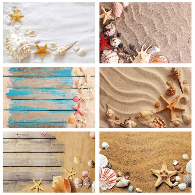 Beach Sand Starfish Shell Conch Photography Backgrounds Vinyl Cloth Backdrop Photo Studio for Children Baby Shower Photophone