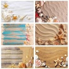 Strand Zand Zeester Shell Conch Fotografie Achtergronden Vinyl Doek Achtergrond Foto Studio Voor Kinderen Baby Shower Photophone