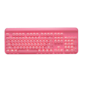 Pink Cute Retro Punk Mechanical Keyboard Green Axis 104 Water Wafer Point Round Light Transmission Pink Keyboard Girl