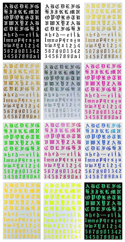 12 levhalar 10X8 XL eski E (İngilizce) tırnak çıkartmaları mektubu tırnak çıkartmalar harfler çivi eski İngilizce gotik tırnak Sticker