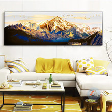 Golden Mountains Abstract Mural Posters and Prints Oil Painting on Canvas Print Canvas Paintings for Living Room Home Decoration