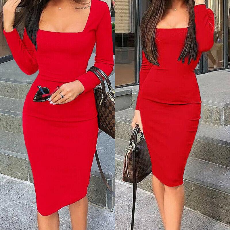 Elegant Dress Women Long Sleeve Bodycon Dress Ladies Autumn Casual Dress Party Dress Xmas Warm Cotton Winter Dress Hot