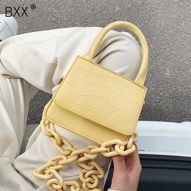 [BXX] Stone Pattern PU Leather Crossbody Bags For Women 2020 Chain Design Lady Shoulder Messenger Handbags Travel Purses HL836