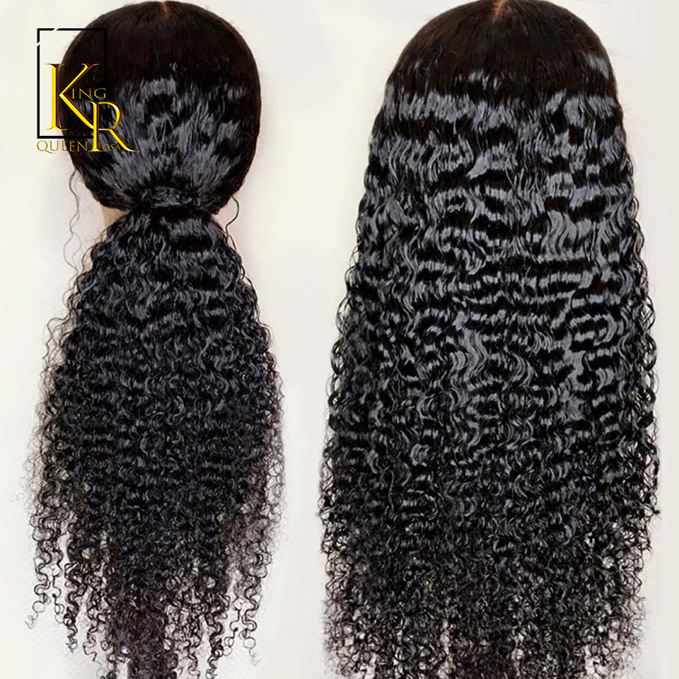 Curly Lace Front Human Hair Wigs For Women Brazilian Remy Black Lace Wig 150% Density Pre Plucked With Baby Hair King Rosa Queen