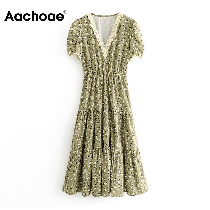 Aachoae Lace Patchwork Long Split Dress Women Floral Print Elegant Party Dress Summer V Neck Short Sleeve Sexy Beach Dresses