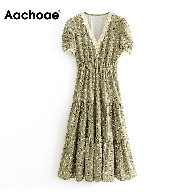 Aachoae Lace Patchwork Long Split Dress Women Floral Print Elegant Party Dress Summer V Neck Short Sleeve Sexy Beach Dresses
