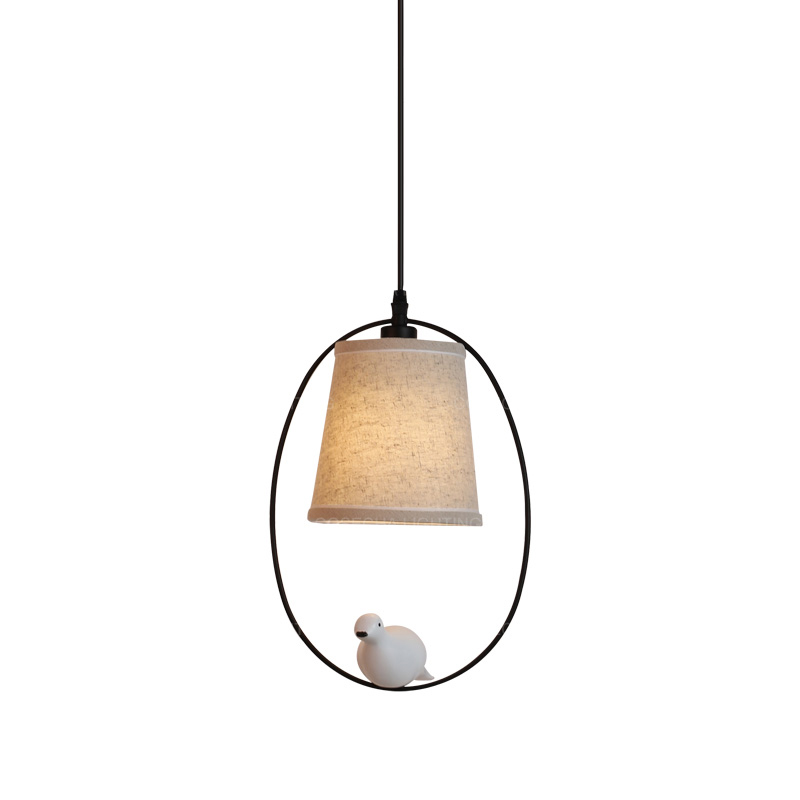 Bird Pendant 1 Light With Fabric Shade Small Single Hanging LampS American French Style Light For Kids' Room Hallway Baby's Room
