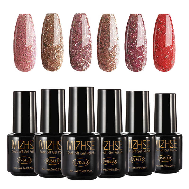 Mizhse Uv Gel Kuku Manikur Diamond Glitter UV Kuku Polandia Gel Kuku Kualitas Rendam Off Gel Memoles Warna Rose Gold series Uv Gel