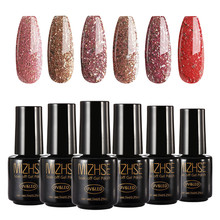 MIZHSE UV Gel Nail Manicure Diamond Glitter UV Nagellak Gel Nail Kwaliteit Losweken Gel Polish Rose Goud Kleur serie UV Gel(China)
