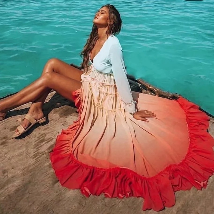 Rainbow Maxi Dresses Ruffle Trim Summer Dresses Casual Beach Boho Dress Chiffon