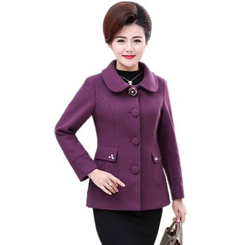 2019 Autumn Winter Middle-aged Mother Woolen Jacket Fashion Slim Long-sleeved Short Outerwear Large size Female Warm Wool Coat