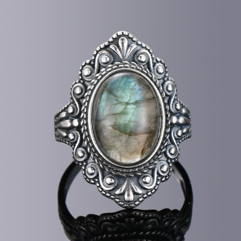 Nasiya Vintage Oval Natural Labradorite Rings For Women 925 Sterling Silver Ring Jewelry Finger Ring Gemstone Rings Party Gift