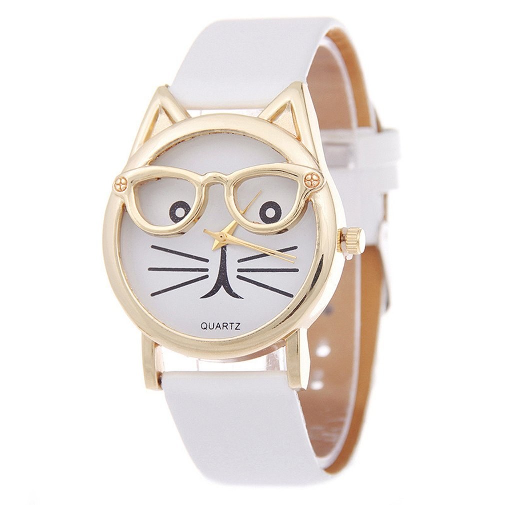 Luxury Brand Watch Women Girl Student Steel Case Leather Casual Fashion Female Glasses Cat Watches Bracelet Quartz Watches Hot