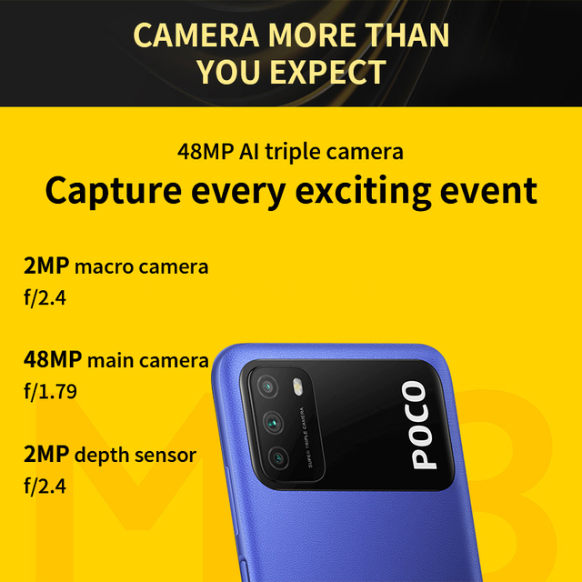"Global Version POCO M3 Smartphone Snapdragon 662 Octa Core 4GB 64GB/128GB 6.53""display 6000mAh battery 48MP Triple Camera 2"