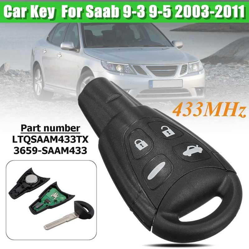 Car 4 Button Remote Control Key PCF7946 D46 Chip 433Mhz LTQSAAM433TX for SAAB 9-3 9-5 2003-2011