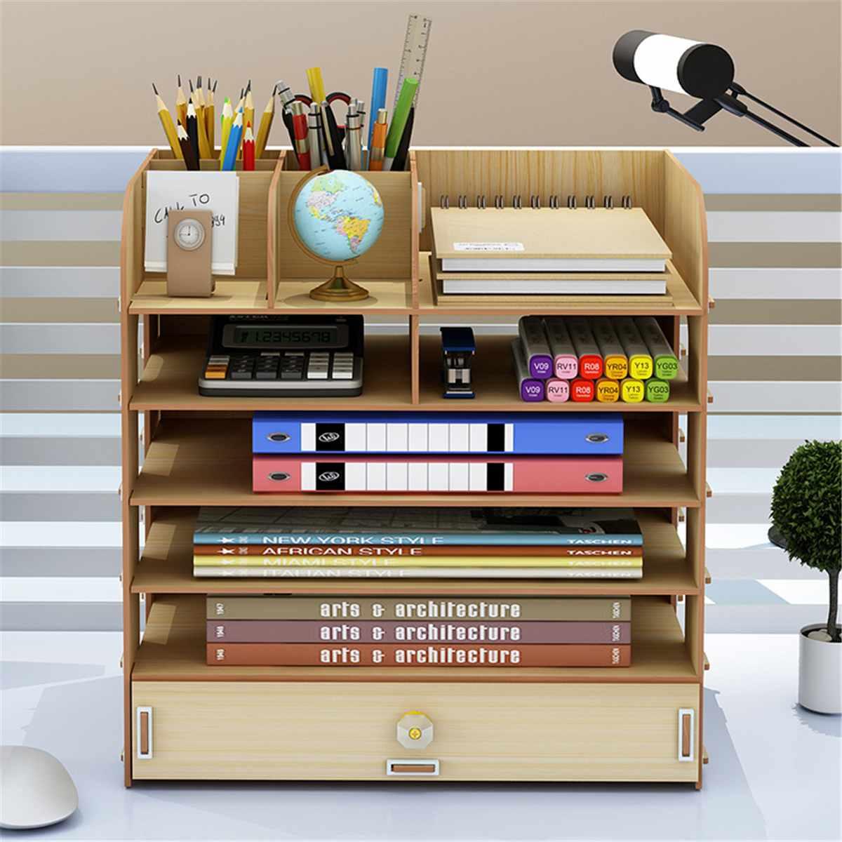 Wooden Desktop Office File Organizer Study Supplies Book Storage Home Office Supplies Pencil Holder Storage Box Decoration