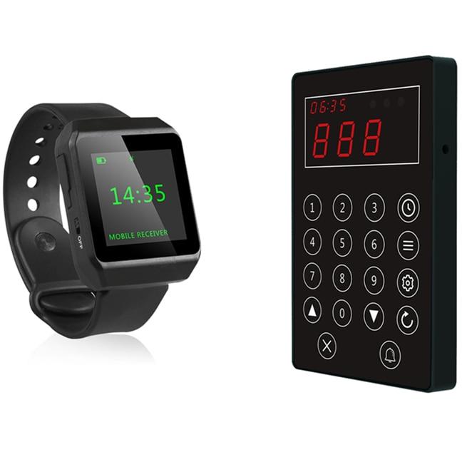 Téléavertisseur d'appel de cuisine sans fil chef d'appel serveur pour ramasser le système alimentaire 1pc bouton d'appel de file d'attente 1pc téléavertisseur de montre-bracelet