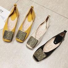 Женские туфли с кристаллами, балетки на низком каблуке, без застежки, весна осень 2020